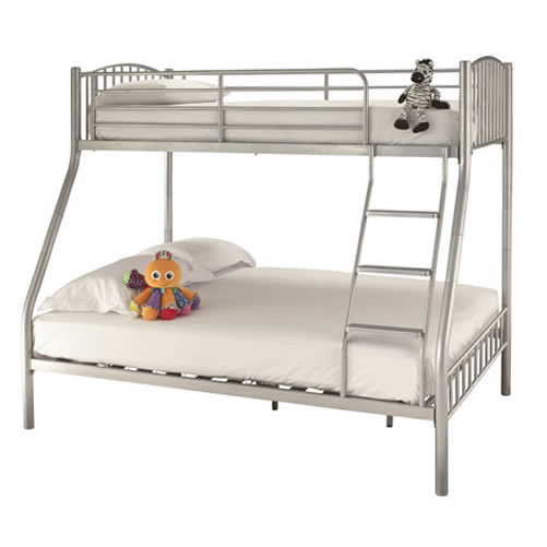 Triple sleeper bunk bed frame double on bottom single on for Bunk bed with double on bottom