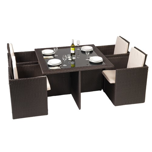 Rattan Garden 4 Seater Furntiure Set with Cover - Glass Table and Chairs -Brown enlarged preview