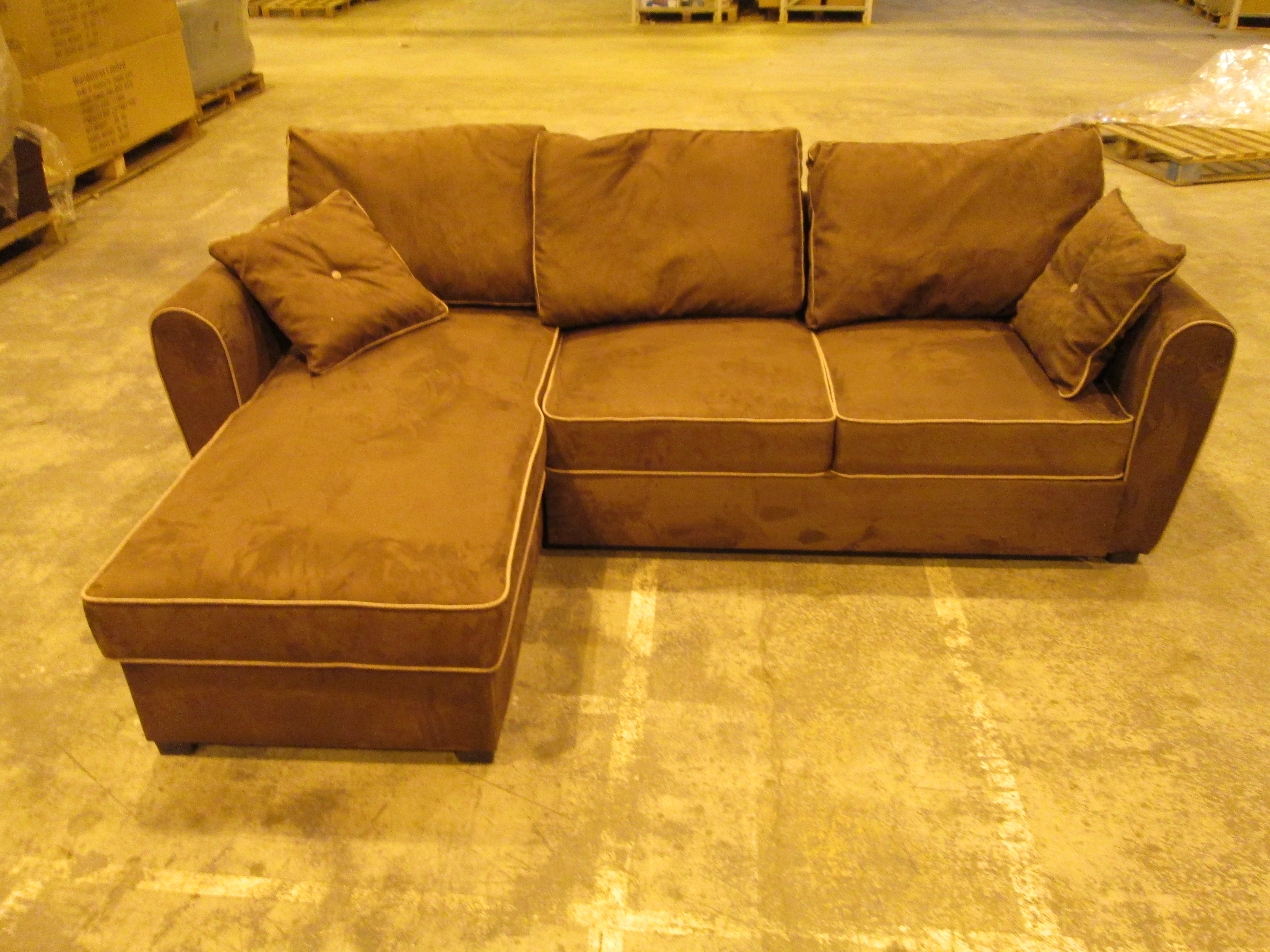 Corner sofa bed in brown ex display foam and spring for Spring sofa bed