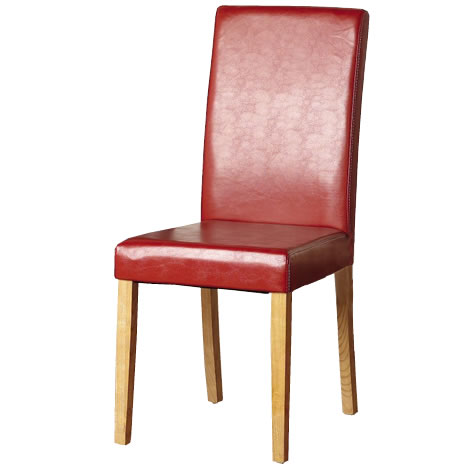 Pair of red leather upholstered dining chairs g3 ebay - Red upholstered dining chairs ...