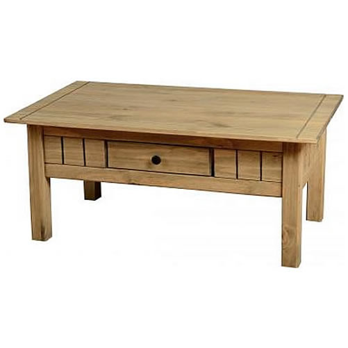 Pine coffee table small drawer natural oak wax finish traditional design ebay Pine coffee table with drawers