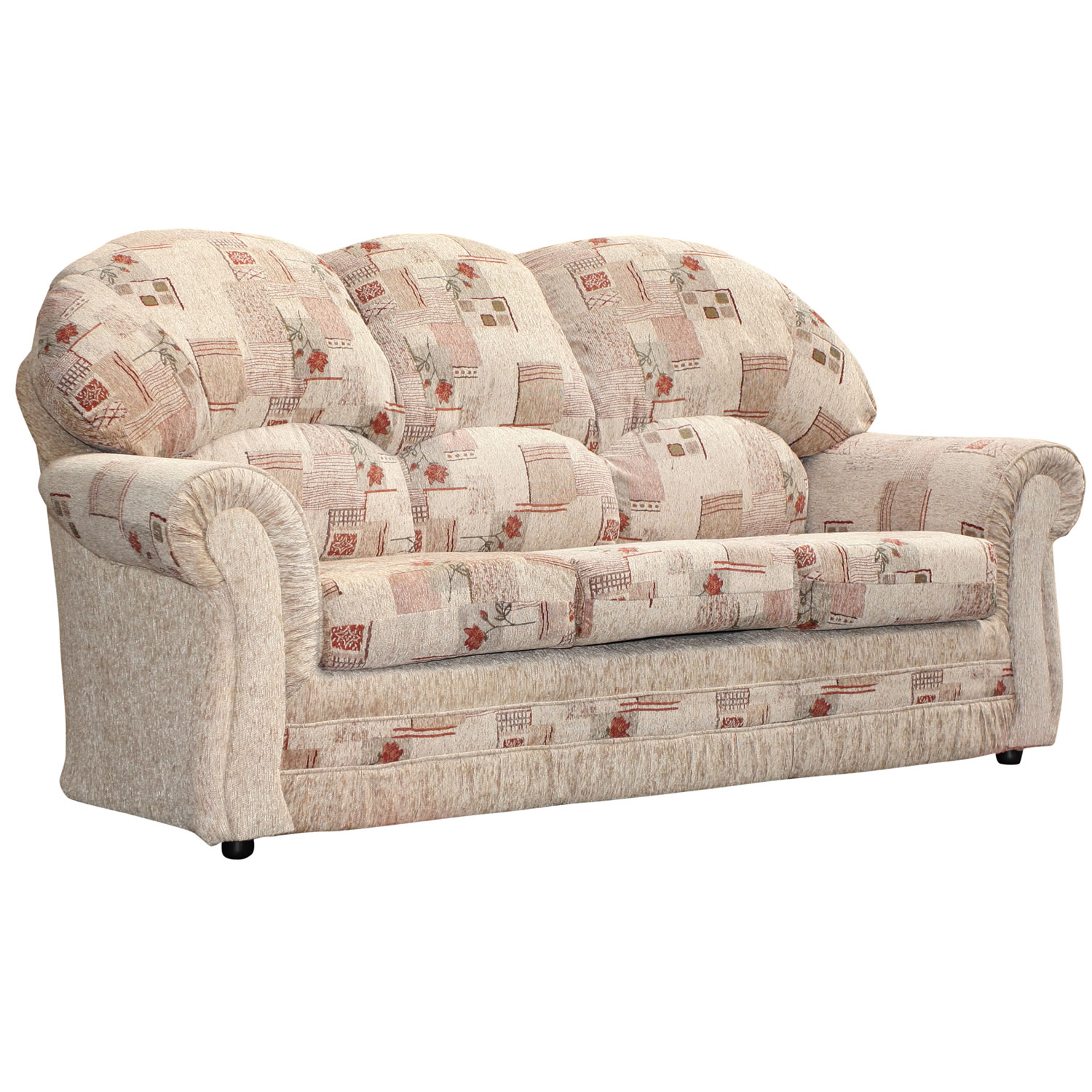 3 Seater Sofa Roma Floral Patterned Beige Fabirc Settee