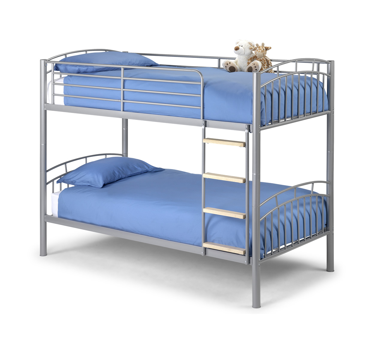 Bunk bed kids 3ft metal silver childrens bunk bed frame for Childrens iron beds