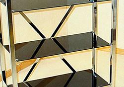 chrome and black glass shelving unit 5 tier. Black Bedroom Furniture Sets. Home Design Ideas