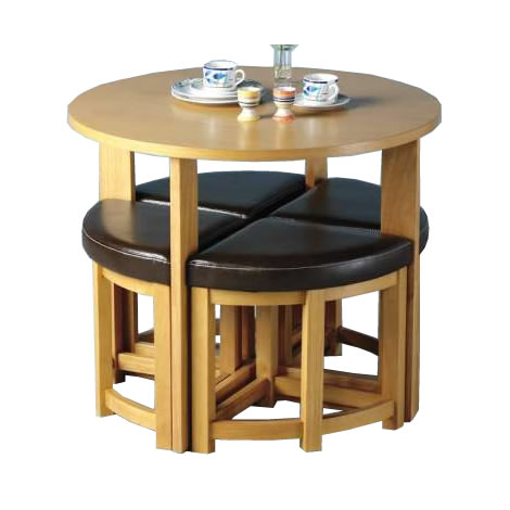 Sherwood mocha stowaway dining table 4 chairs set for Stowaway dining table