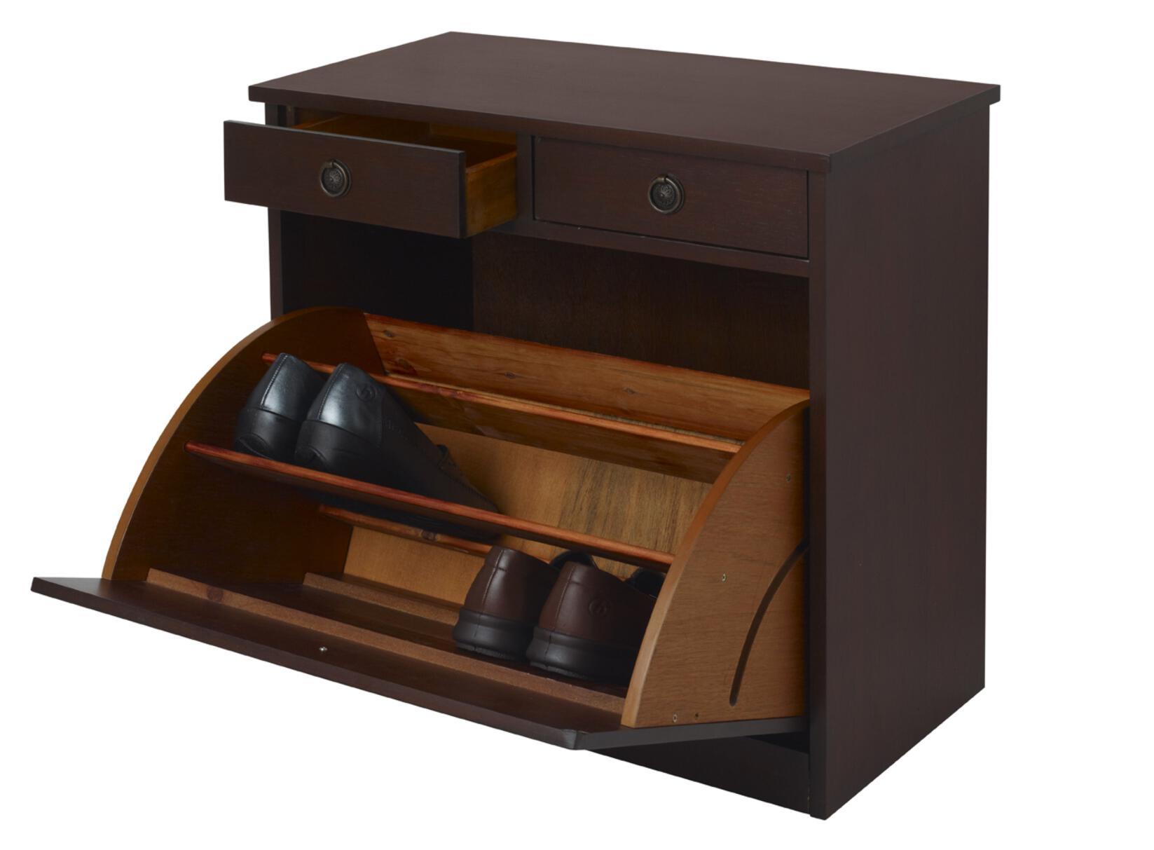 Slimline mahogany shoe cabinet tidy chest of drawers