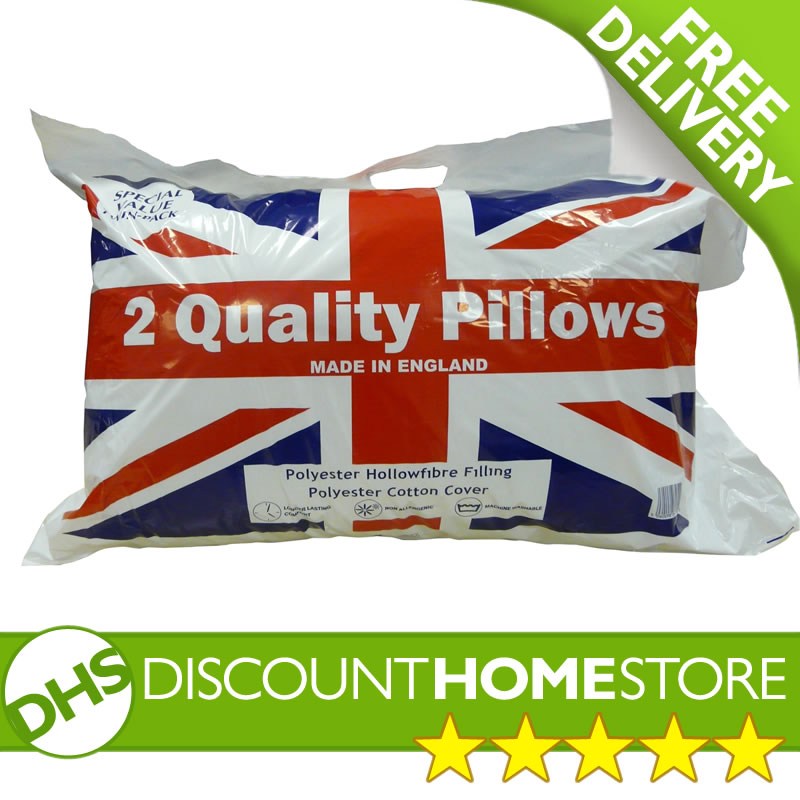 Pillows x2 UK Made Quality - Polyester Hollowfibre Filling Cotton Cover (Pair) enlarged preview