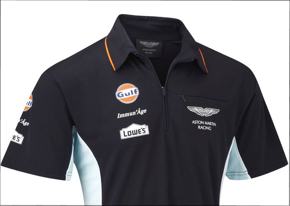 polo shirt aston martin racing team replica le mans gulf navy sportscar new xs ebay. Black Bedroom Furniture Sets. Home Design Ideas