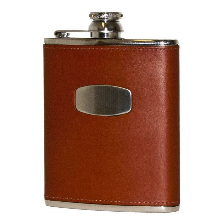 BISLEY-6-OZ-HIP-FLASK-STAINLESS-STEEL-BROWN-LEATHER-HUNTING-SHOOTING-GIFT-NEW