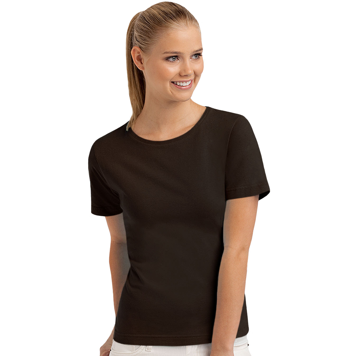 Hanes womens ladies short sleeve casual plain cotton t for Women s broadcloth shirts