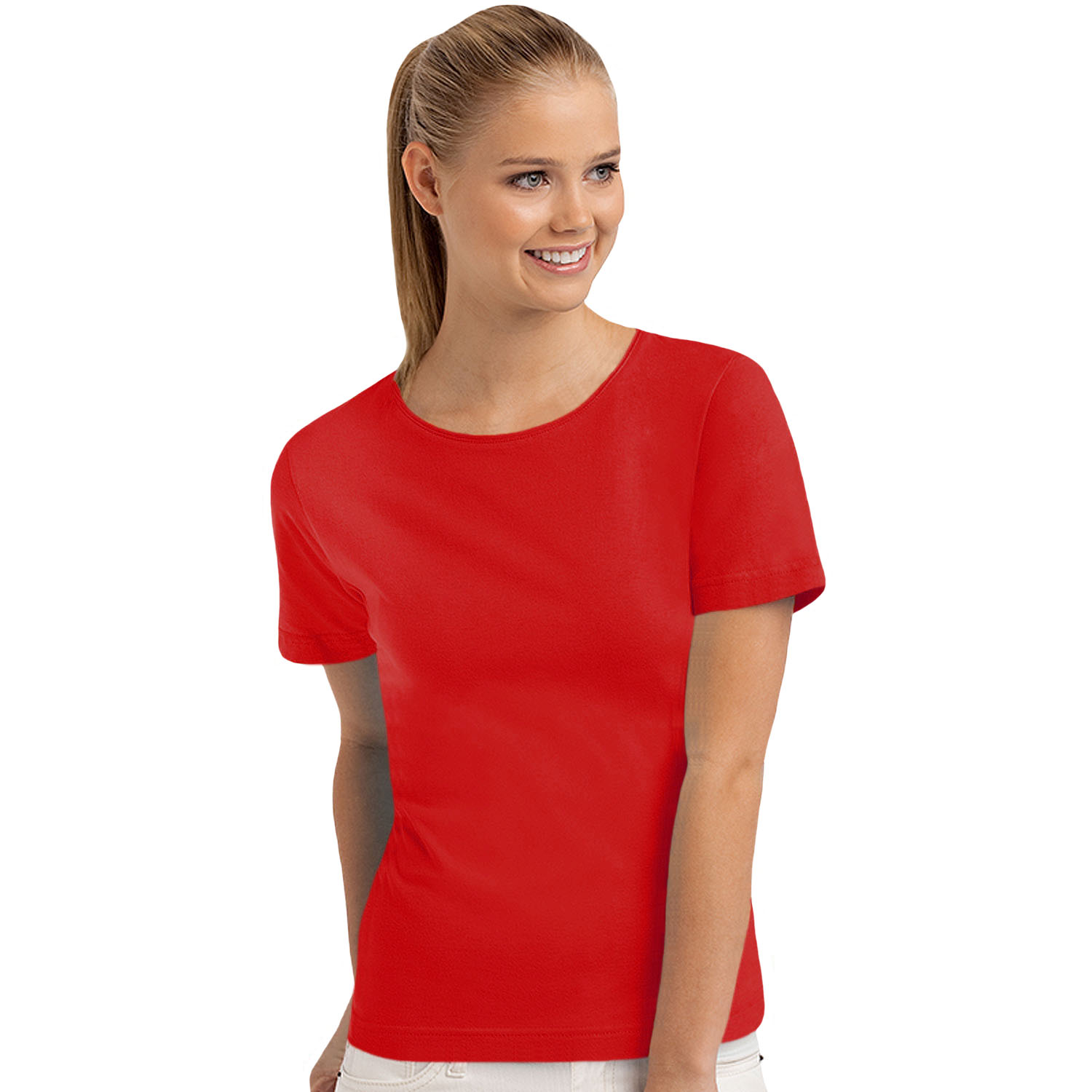 Hanes womens ladies short sleeve casual plain cotton t for Women s embellished t shirts