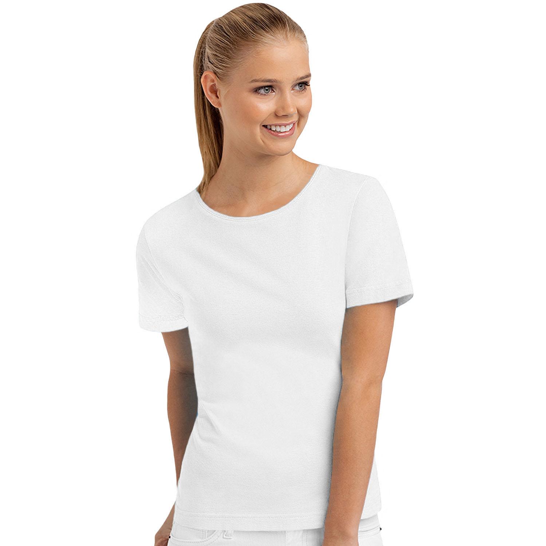 Hanes womens ladies short sleeve casual plain cotton t for Plain white tee shirt womens