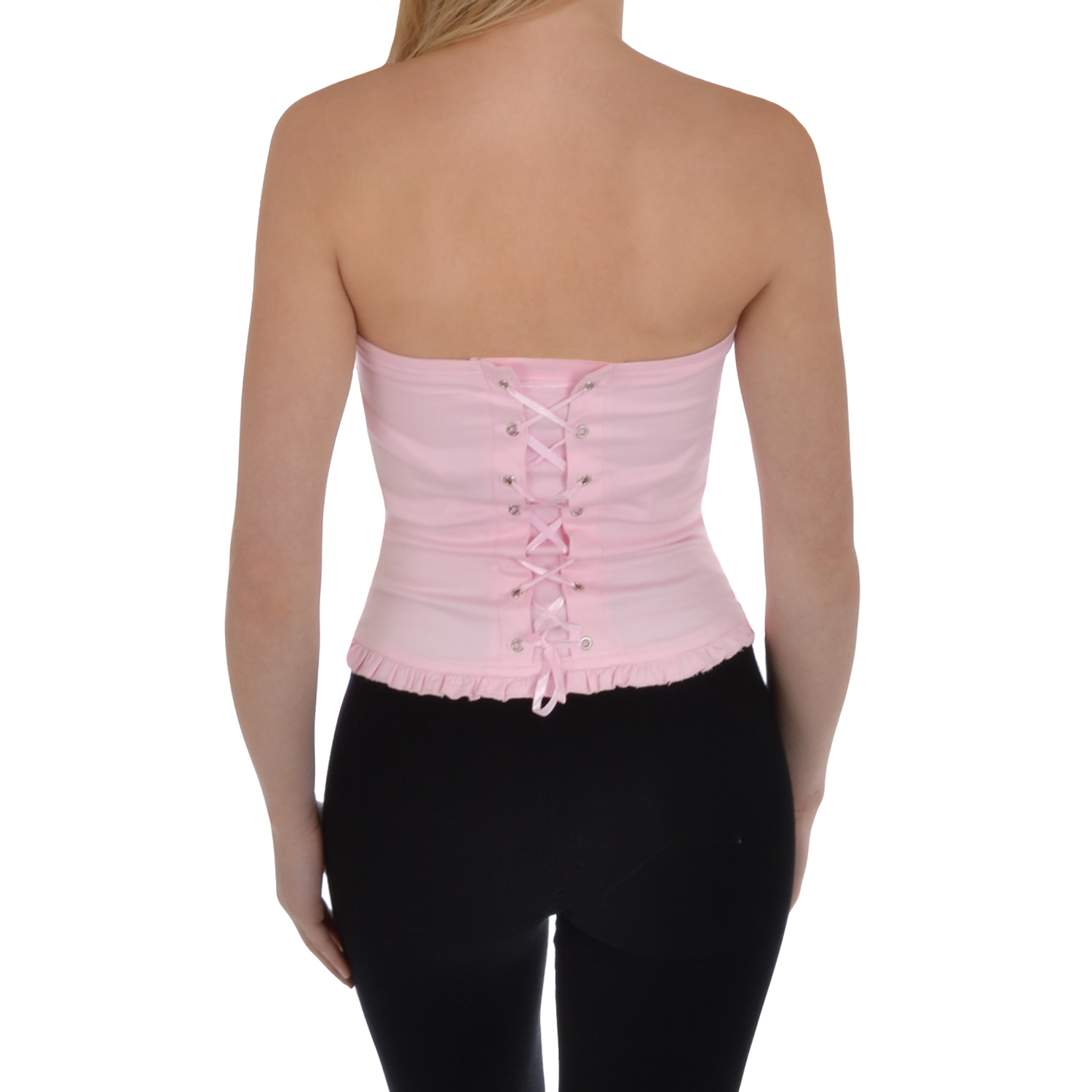 Miss Posh Womens Cotton Overbust Lace Up Boned Bustier Basque Corset Top