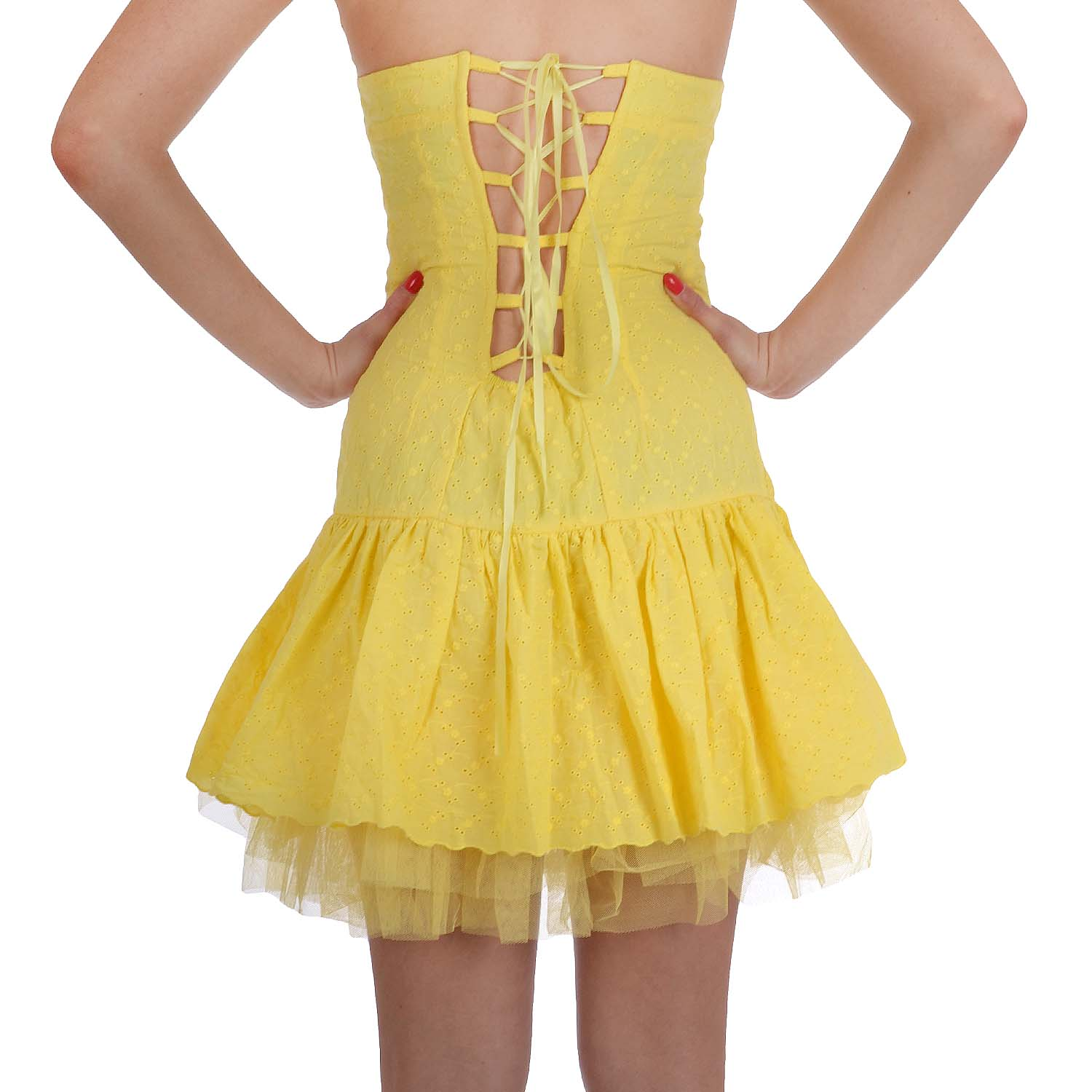 Miss-Posh-Womens-Broderie-Anglaise-Strapless-Lace-Boob-Tube-Skater-Dress