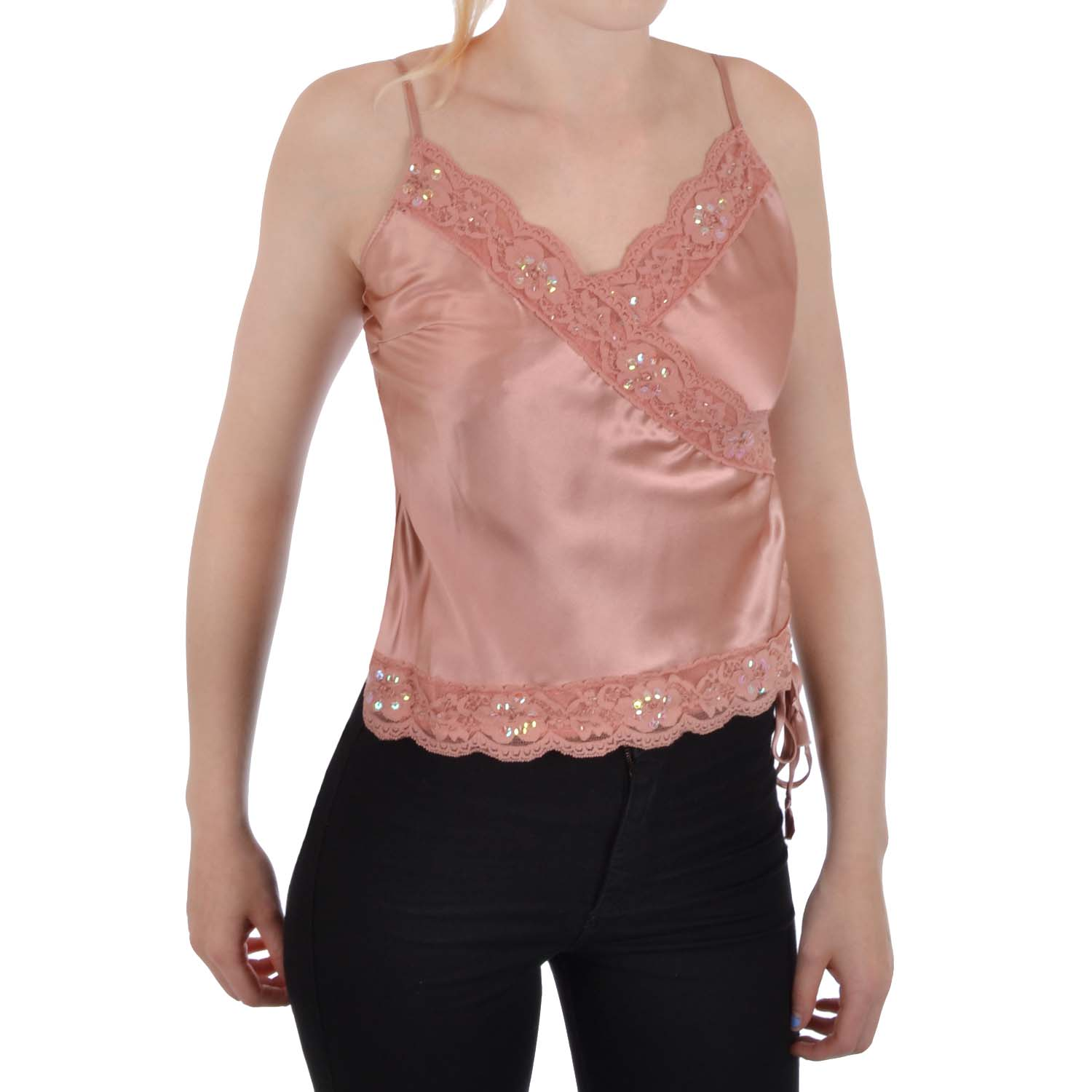 Miss-Posh-Womens-Ladies-Satin-Effect-Sequin-Blouse-Shirt-Top
