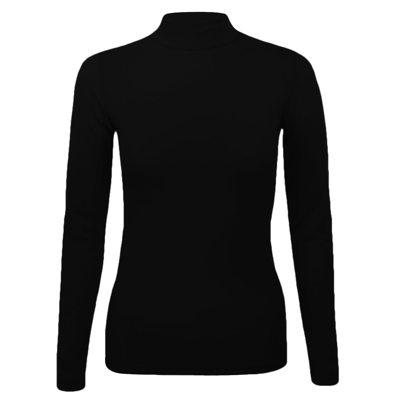 Womens ladies long sleeve turtleneck plain stretch cotton for Long sleeve black turtleneck shirt