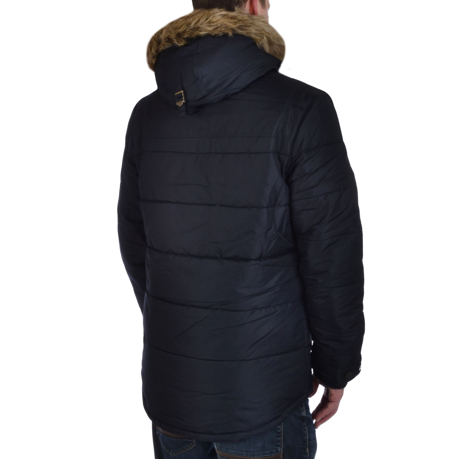 Slazenger Mens Quilted Padded Faux Fur Hooded Winter Bomber Parka ...