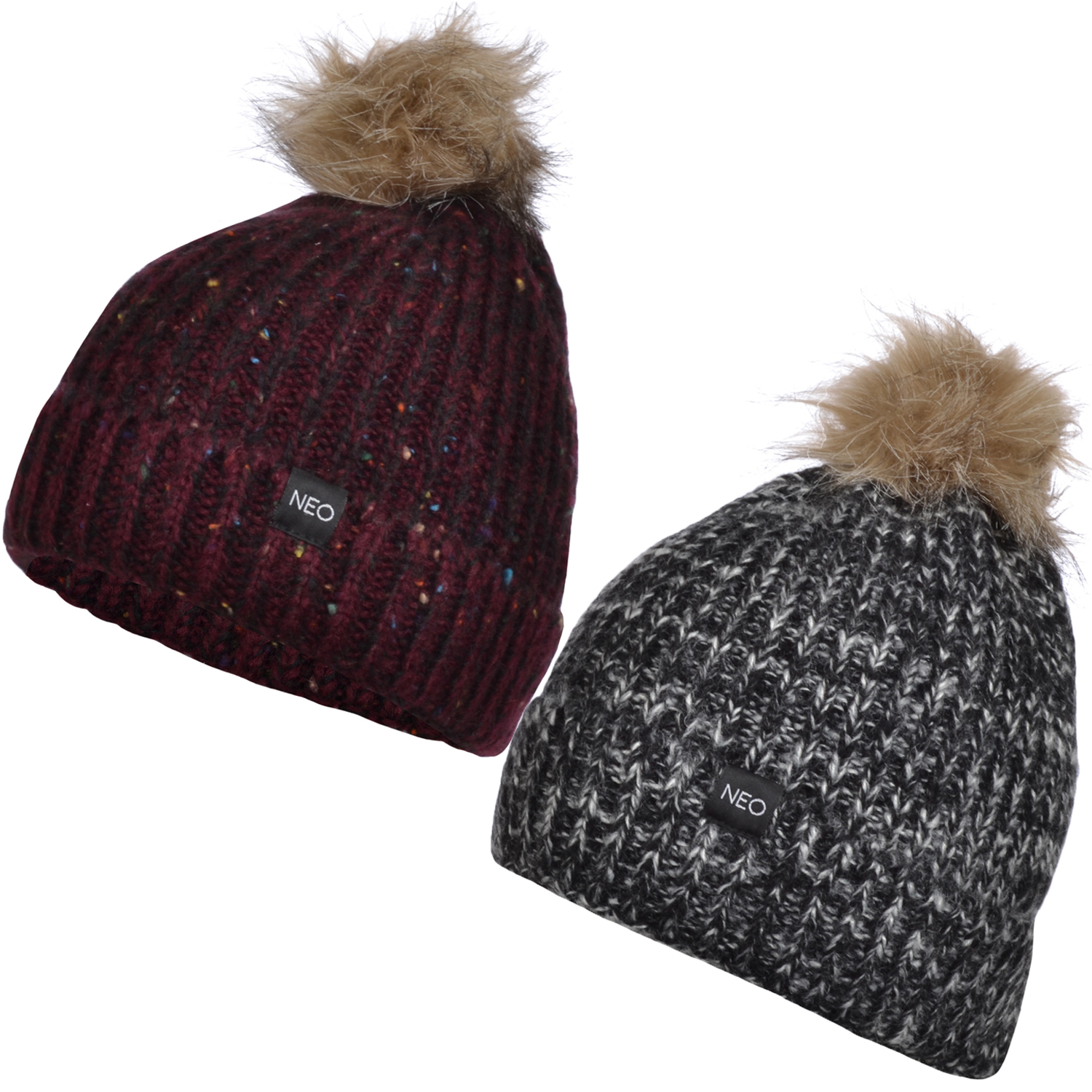 adidas neo womens warm knitted pompom wooly beanie