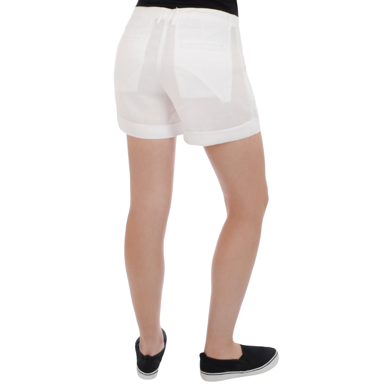 Miss Posh Womens Ladies Linen Smart Casual Summer Turn Up Shorts