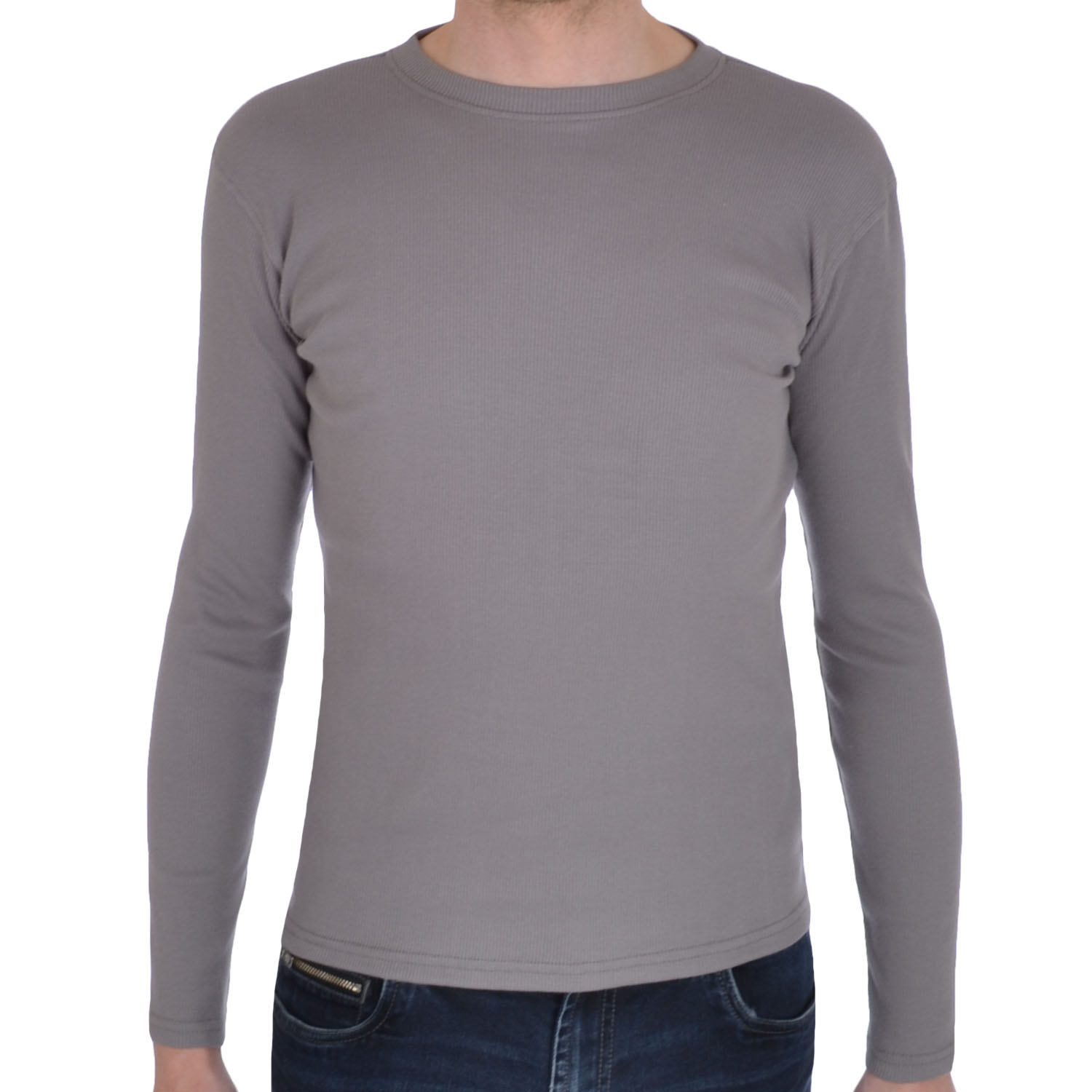 Mens Ribbed Cotton Round Neck Long Sleeve Stretch T Shirt Tee Top ...