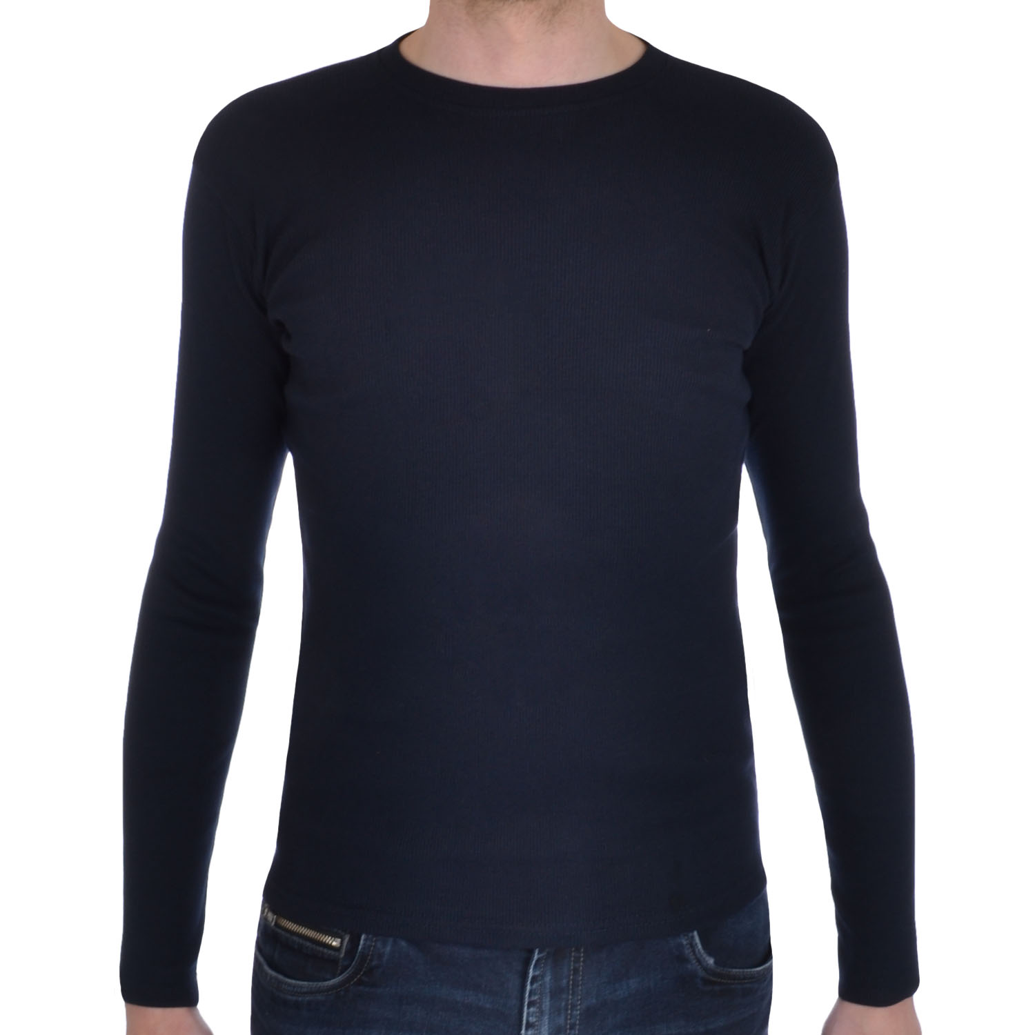 mens ribbed cotton round neck long sleeve stretch t shirt