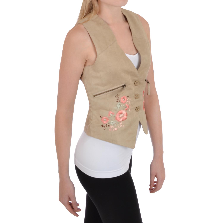 Miss-Posh-Womens-Ladies-Sleeveless-Suede-Effect-Waistcoat-Vest-Top