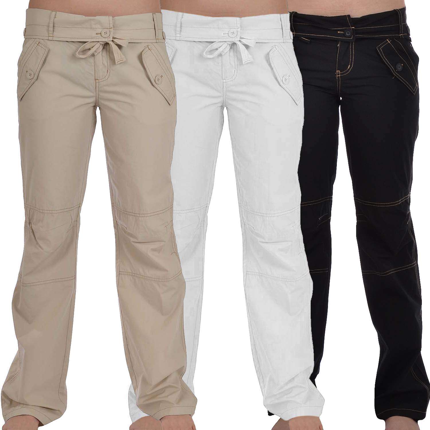 Excellent Womens Cargo Pants Ladies Casual Capri Shorts Work Walking Cotton