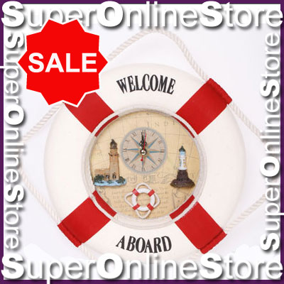 WELCOME-ABOARD-LIFE-RING-WALL-CLOCK-QUARTZ-MAP-VINTAGE