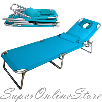 Aluminium-Folding-Tanning-Reclining-Sun-Bed-Lounge-Pool-Beach-Chair-Sunbed-Blue