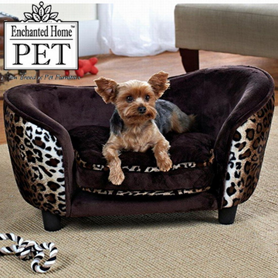 Enchanted Home Dog Pet Cat Ultra Plush Snuggle Bed Lounge Pet Furniture Leopard Ebay