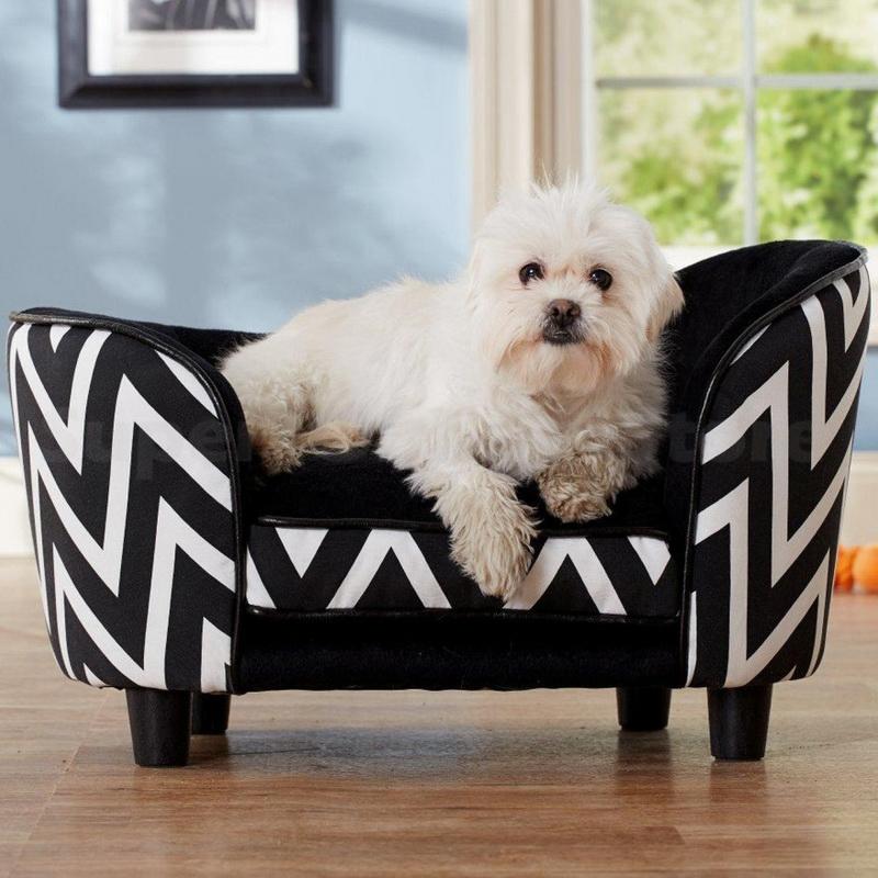 Enchanted Home Dog Pet Ultra Plush Snuggle Bed Lounge Furniture Black Chevron Ebay