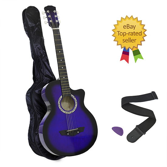 38-Steel-String-Blue-Cutaway-Acoustic-Wooden-Guitar-with-Bonus-Pick-Bag
