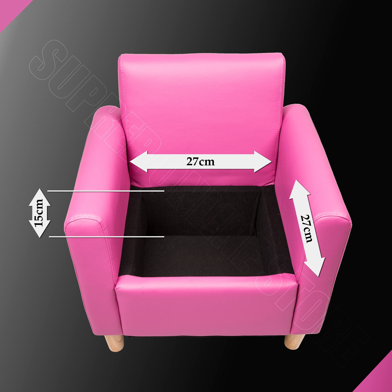 Kids sofa children lounge arm chair leather pink black w for Kids chair leather