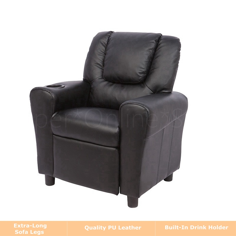 Kids children recliner premium kid leather lounge chair for Kids recliner chair