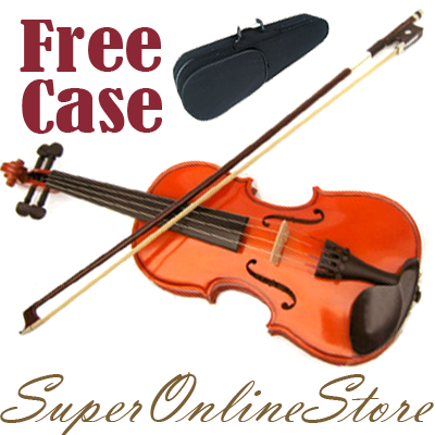 Full-Size-4-4-Natural-Acoustic-Wooden-Violin-Set-Bow-Rosin-Strings-Case-Beginner