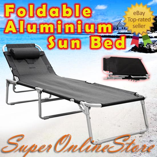 Aluminium-Folding-Tanning-Reclining-Sun-Bed-Lounge-Pool-Beach-Chair-Sunbed-Black