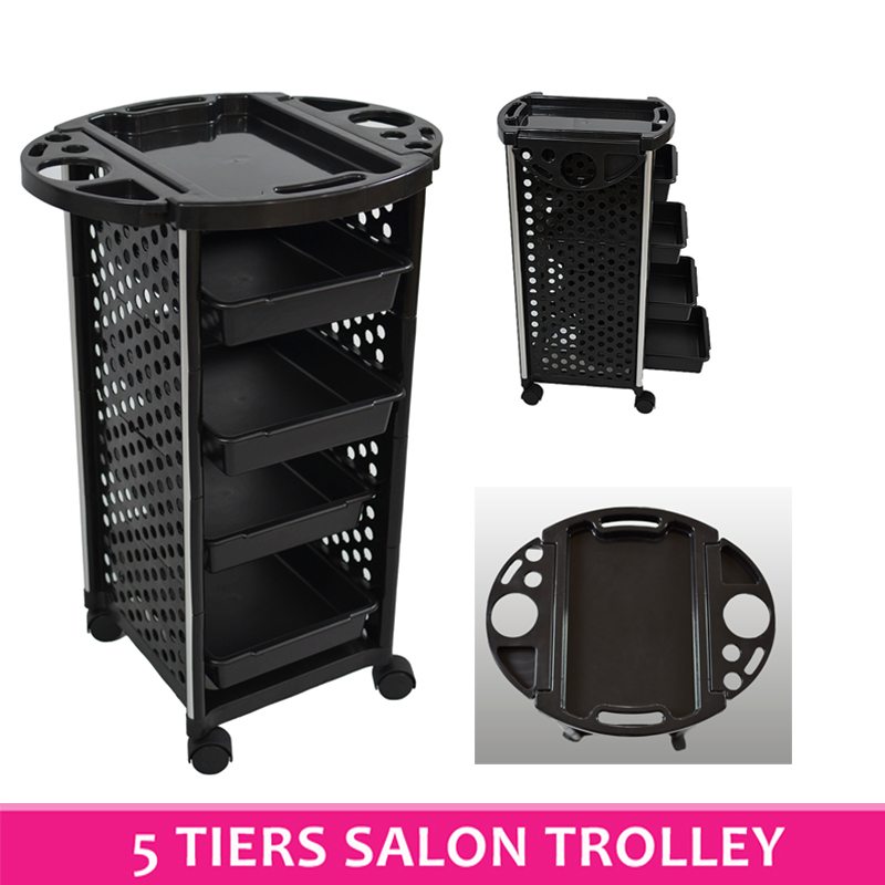 5 tiers hairdresser salon spa multifunction hair trolley for Salon trolley