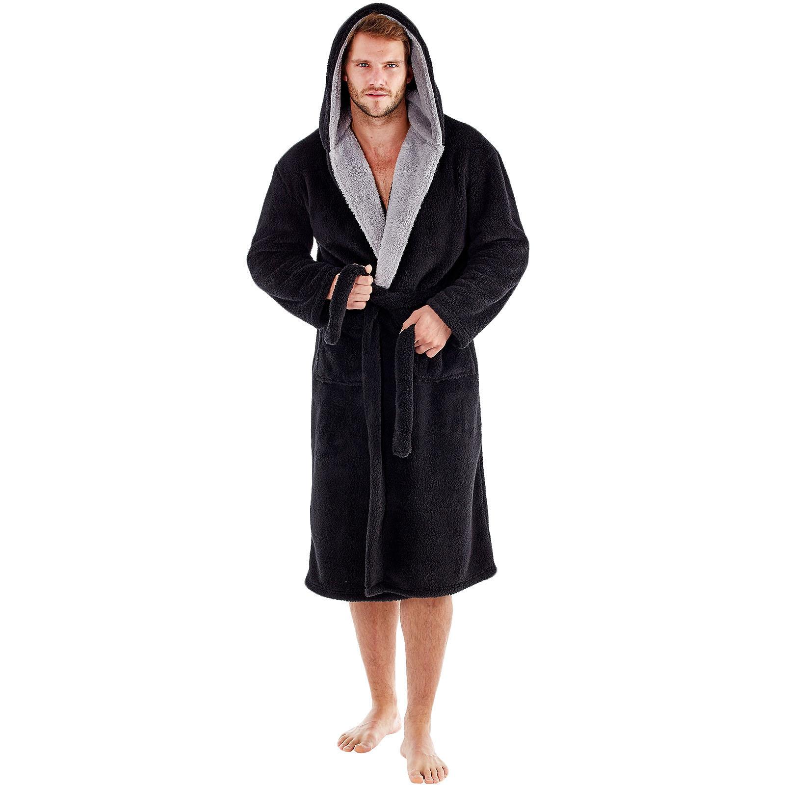Snuggaroo Mens Soft Fleece Long Sleeve Hooded Lounge Bath Robe Dressing Gown