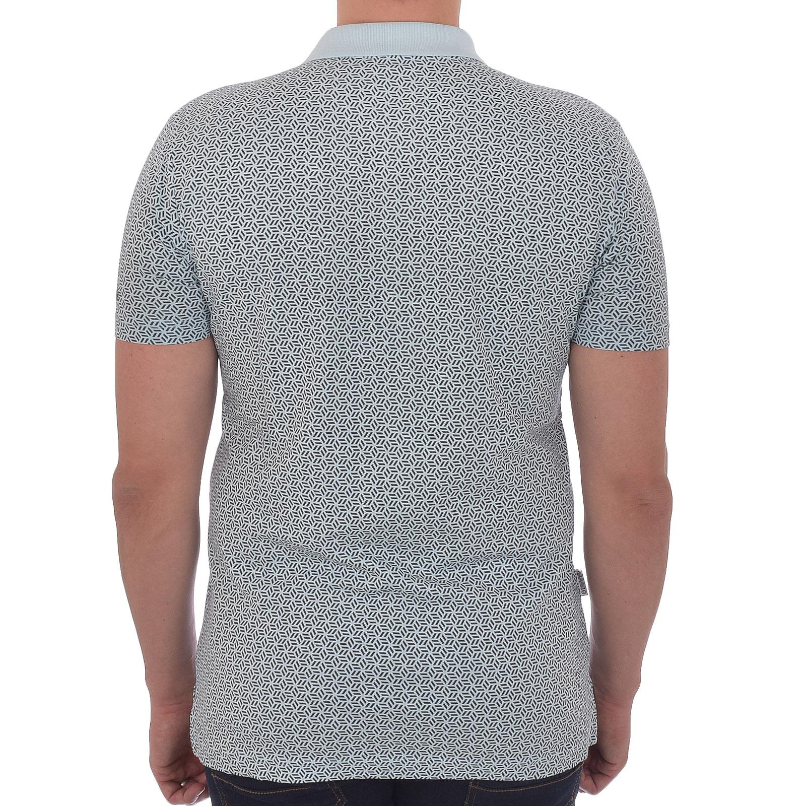 Lambretta Mens Geometric AOP Casual Logo Collar Short Sleeve Polo Shirt Tee Top