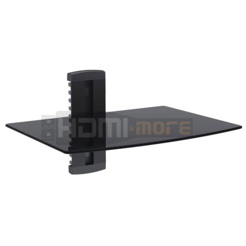 single glass shelf wall mount bracket under tv component. Black Bedroom Furniture Sets. Home Design Ideas