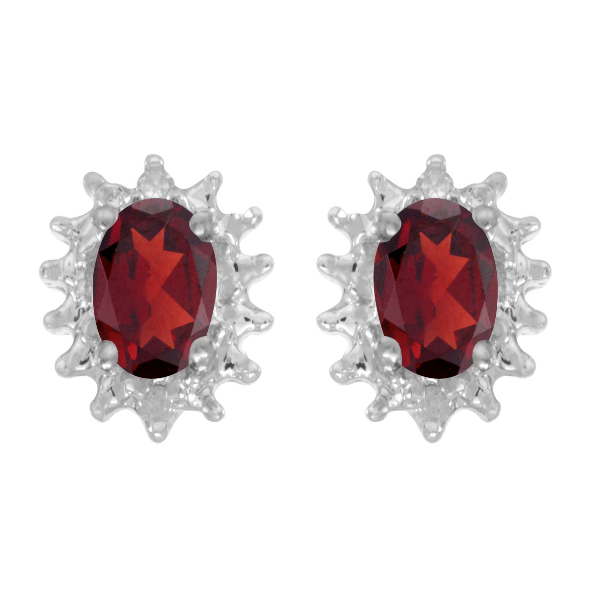 Direct-Jewelry 14k White Gold Oval Garnet And Diamond Earrings at Sears.com