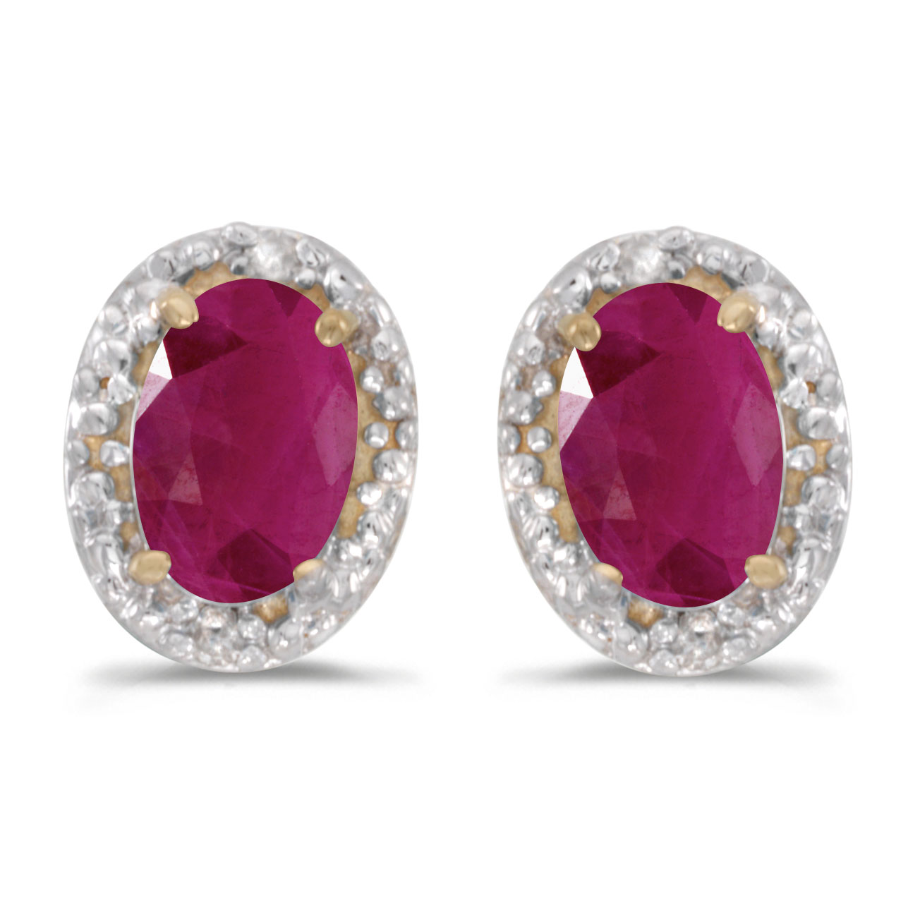 10k yellow gold oval ruby and diamond earrings ebay. Black Bedroom Furniture Sets. Home Design Ideas