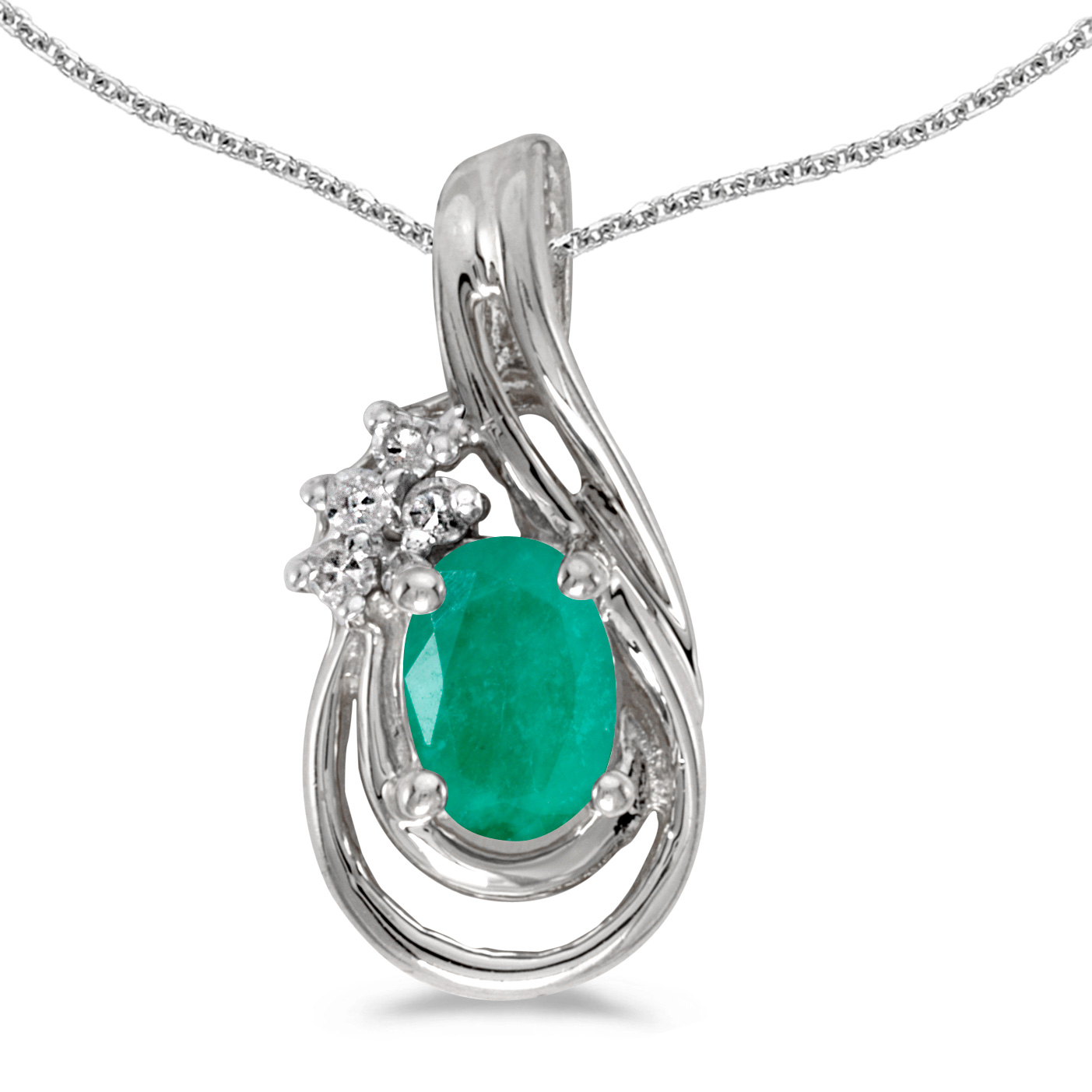 """Direct-Jewelry 10k White Gold Oval Emerald And Diamond Teardrop Pendant with 18"""" Chain at Sears.com"""