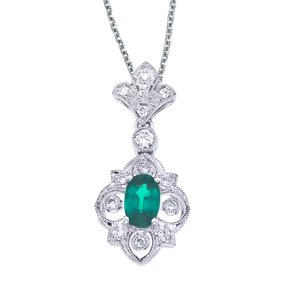 "Direct-Jewelry 14k White Gold Emerald and Diamond Fleur De Lis Pendant with 18"" Chain at Sears.com"