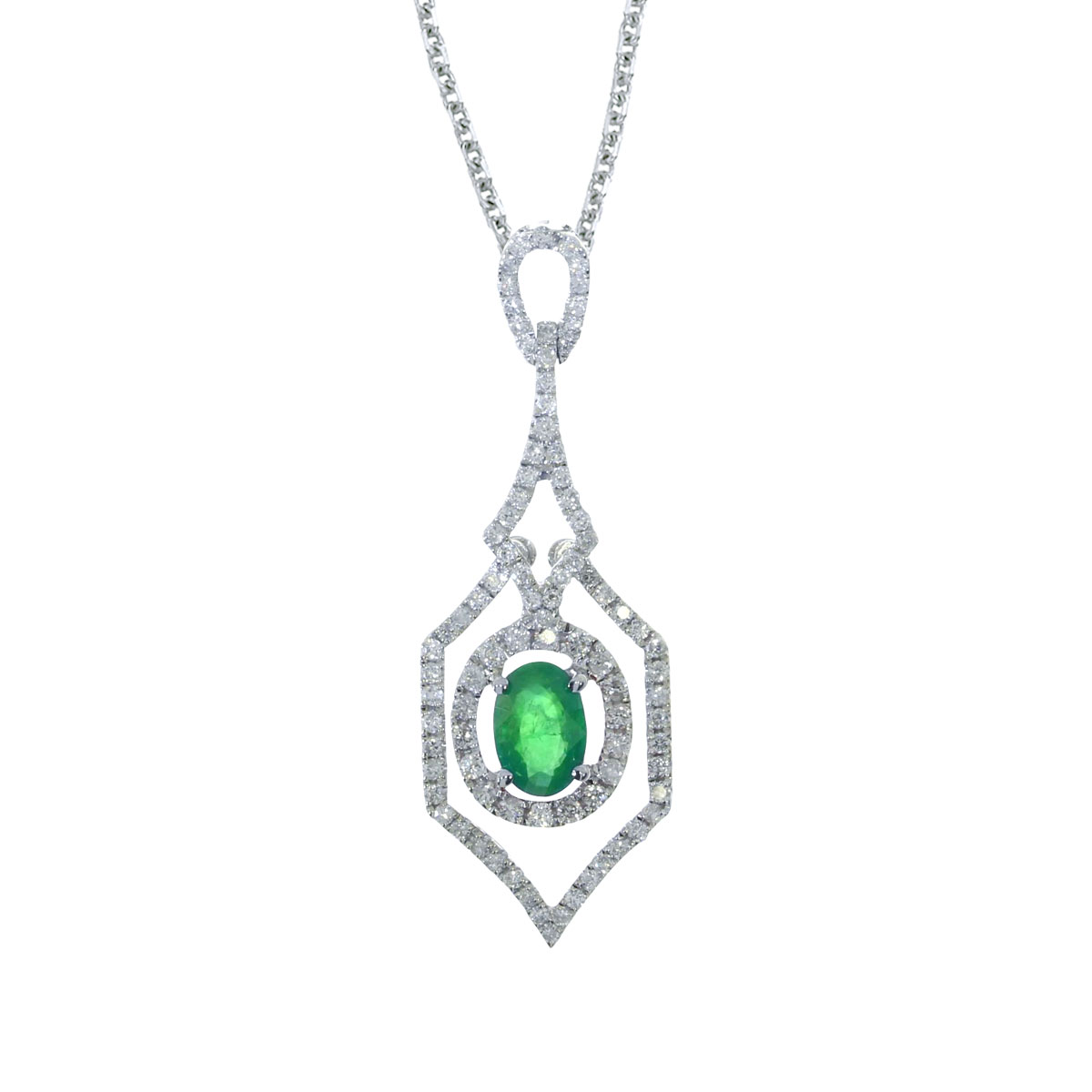 """Direct-Jewelry 14k White Gold Emerald and .36 ct Diamond Pendant with 18"""" Chain at Sears.com"""