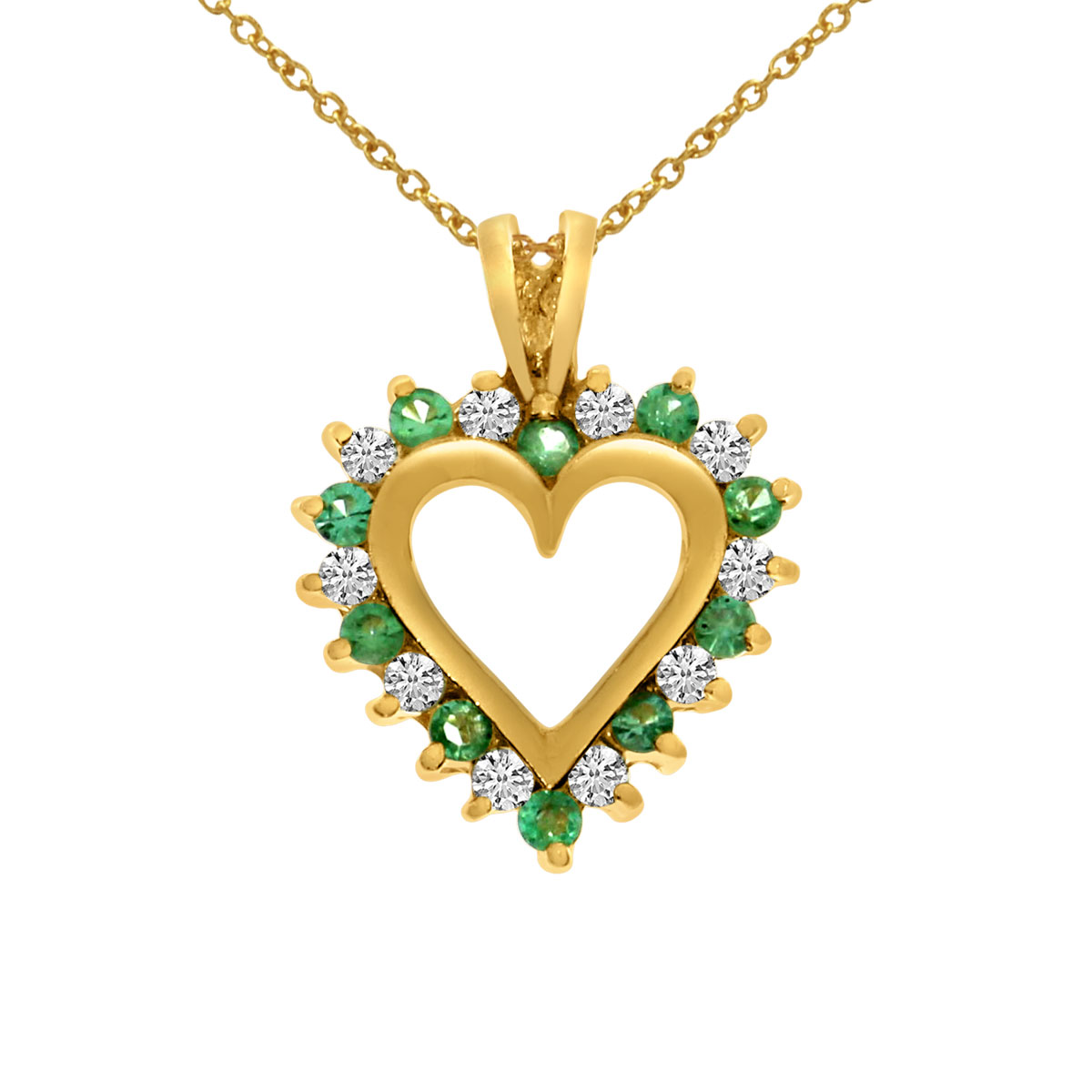 """Direct-Jewelry 14k Yellow Gold Emerald and Diamond Heart Shaped Pendant with 18"""" Chain at Sears.com"""