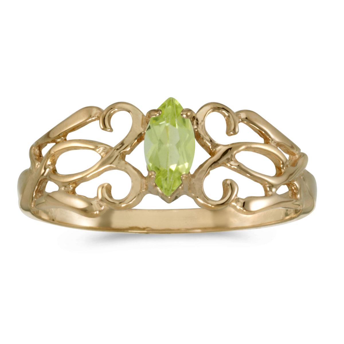 Direct-Jewelry 10k Yellow Gold Marquise Peridot filigree Ring