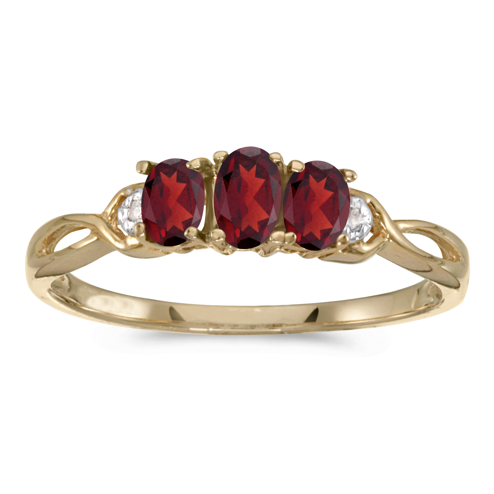 Direct-Jewelry 10k Yellow Gold Oval Garnet And Diamond Three Stone Ring