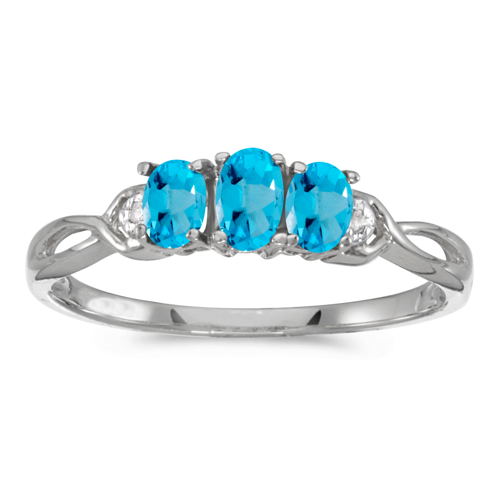 Direct-Jewelry 10k White Gold Oval Blue Topaz And Diamond Three Stone Ring