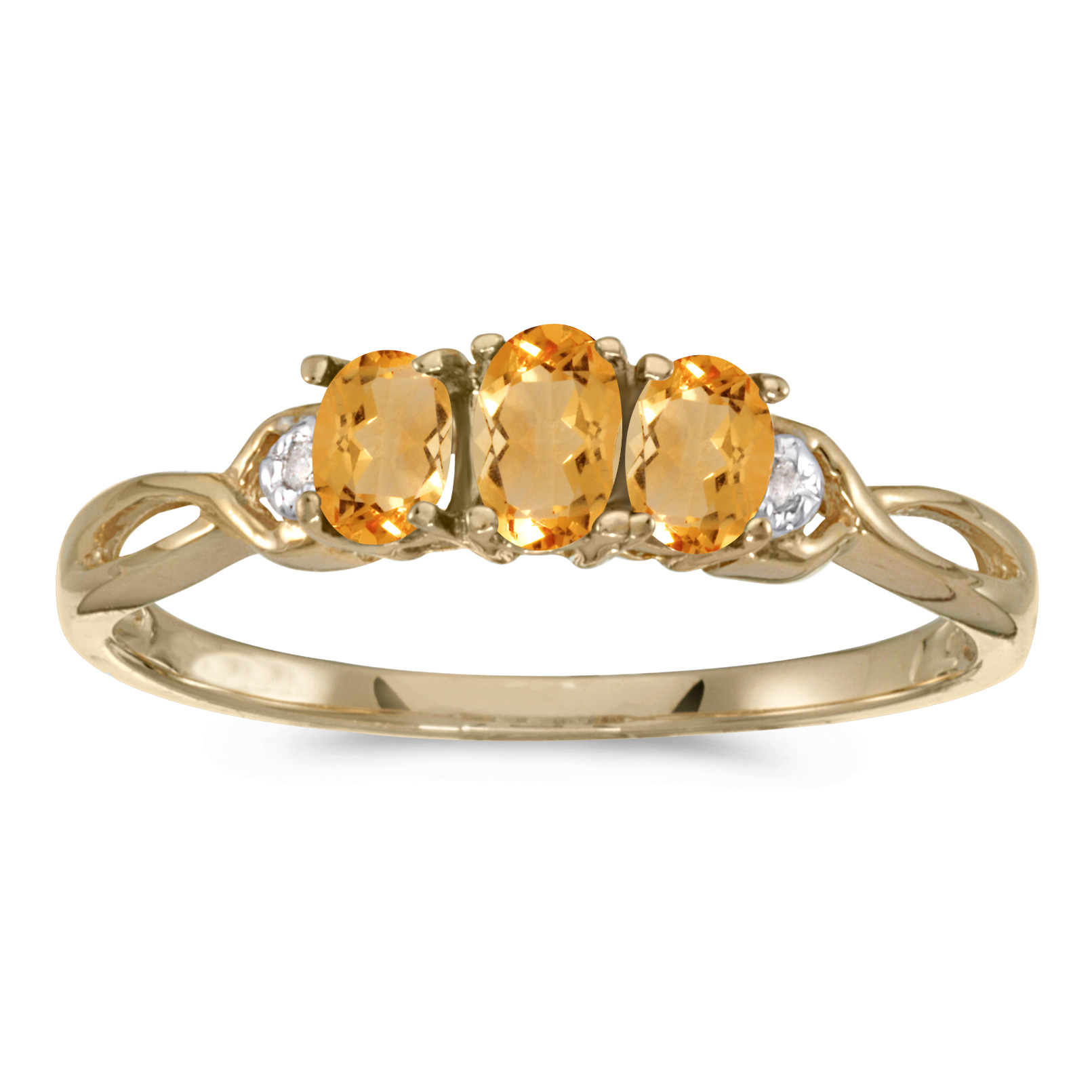 Direct-Jewelry 14k Yellow Gold Oval Citrine And Diamond Three Stone Ring